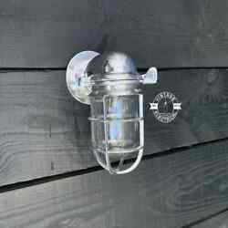 Solid Polished Nickel Caged Bulkhead Industrial Wall Light Outdoor Lightning