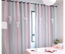 Pink Rainbow Curtain for Girls Bedroom Kids Room Ombre $10.00
