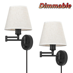 Set of 2 Wall Light Fixture Dimmable Wall Sconce Swing Arm Bedroom Reading Lamp $35.88
