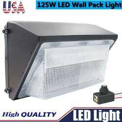 125W LED Wall Pack Light Photocell 5500K White Outdoor Commercial Lighting IP65