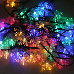20ft Outdoor Strings Solar Light Snowflake Shaped 30LED for Xmas Party Home Lawn