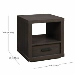 Espresso End Table With Drawer Contemporary Table Living Room Office Bedroom NEW $82.98