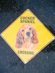 Sign COCKER SPANIEL ALUMINUM CROSSING picture dogs decor large signs $9.95