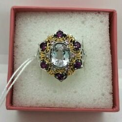 White Sapphire Sterling Silver Cocktail Ring Garnet amp; Gold Accents Filigree 8 $175.00