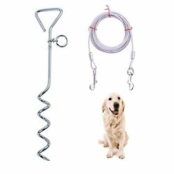 Dog Stake and Cable Dog Tie Out Cable for Yard 250lbs Heavy Duty Stainles... $22.12