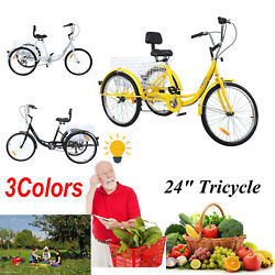 24quot; Adult Tricycle 3 Wheel 7 Speed Bicycle Trike Cruiser Basket Backrest $172.39