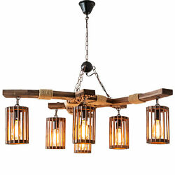 6 Lights Rustic Wooden Chandelier Farmhouse Rope Pendant Light Cage Lampshades $144.00