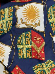 vintage material royal crest and flags sewing crafting fabric 3 yards All Over $25.00