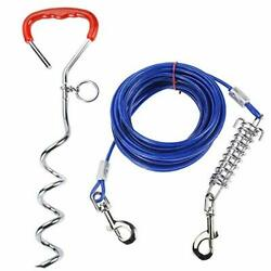Homtone Dog Stake Tie Out Cable 30 Feet Reflective Dog Stake 16.5ft with Dura... $27.80
