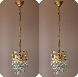 Two Matching Antique Crystal ChandeliersVintage Pendant Hallway Lighting Lamps GBP 695.00