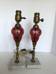 """vintage set of small lamps cranberry etched glass 14"""" $40.00"""