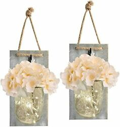Mason Jar Sconce Wall Décor Rustic Home LED Fairy Lights Handcrafted Hanging 2PC $31.99