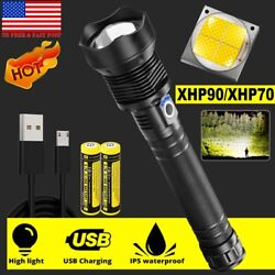 USA 990000LM XHP50 70 90 Super Bright LED Flashlight Rechargeable USB Zoomable $14.28