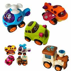 Himeeu Set of 4 Push and Go Friction Powered Vehicles Toys Train Helicopter A... $19.67