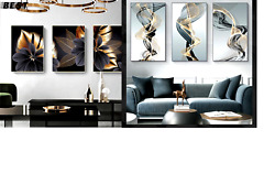 Wall Paintings Black Yellow Lines Poster Print Wall Picture for Living Room $12.50