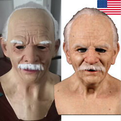 Old Man Mask Latex Halloween Cosplay Party Realistic Full Face Masks Headgear $21.99
