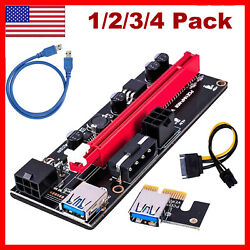 1 4X VER 009S PCI e Riser Card PCI Express 1X to 16X Adapter USB 3.0 Data Cable $9.99