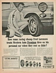 1966 Fred Lorenzen Racing Champion for Western Auto Tires Vintage Ad $16.95