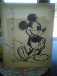 Disney Hobby Lobby sign MICKEY MOUSE Canvas 14quot; x 11quot; classic black amp; white $4.95