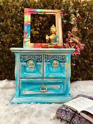 Vintage Nightstand Refurbished in Shabby Chic Style Solid Wood Excellent Cond $349.00
