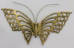 """Vintage 12"""" Butterfly Solid Brass Metal Boho Wall Hanging Decor $15.99"""