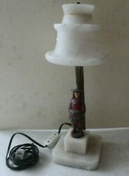 Very Rare Antique Lamp Alabaster Shade amp; Cast Iron Figurine Japanese Official $175.00