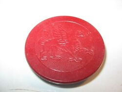 Red Antique Dragon Poker Chip Clay Inlaid Vintage Rare Old Gambling Poker Chip $3.00