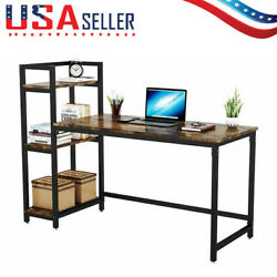 Computer Desk with 3 Tier Storage Shelves Home Office Study Table Workstation $45.25
