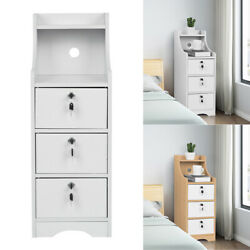 Bedroom Nightstand Bedside Cabinet Wood End Table Locker With 3 Lockable Drawers $52.98