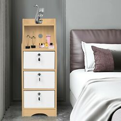 Bedroom Nightstand Lockable Floor Cabinet End Table Coffee Table With Drawers US $73.90