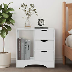 Bedroom Nightstand Bedside Table Storage Cabinet 3 Drawers Chest Home Furniture $69.90