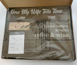 Rustic Wall Plaque quot;How To Tell Timequot; Coffee Mug for AM and Wine Glass for PM $18.00