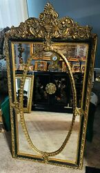 Vintage French Antique Ornate Wall Mirror with Beveled Edge. RARE $450.00