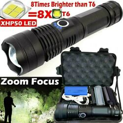 Powerful 900000LM XHP50 Zoom Flashlight LED USB Rechargeable Torch 26650 US $14.49