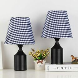 2 Pack Small Table Lamps Set Bedroom Bedside Desk Lamp Plaid Blue Fabric Shade $28.98