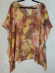 Chico#x27;s Sz Large XL Cover Up Swim Pullover Top Tunic Floral Print Sheer $18.99