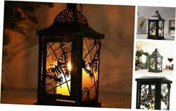 Butterfly Decorative Candle Lanterns 9.5quot; High Rustic Black With Gold Brush $26.47