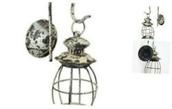 Rustic Distressed Metal Wall Mounted Railroad Lantern Hanging Candle Sconce $53.52