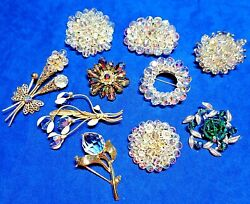 10 Piece LOT of VINTAGE CRYSTAL CLUSTER BEAD amp; CRYSTAL PINS BROOCHES $48.00