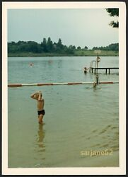 CUTE BOY in a SWIMSUIT SWIMMING in the LAKE VINTAGE SNAPSHOT PHOTO $7.99