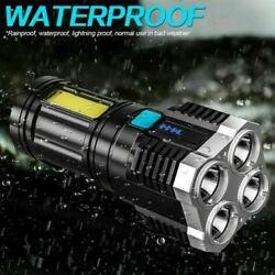 LED Flashlight Torch USB Rechargeable COB Lights with Battery Outdoor Spotlight $11.39