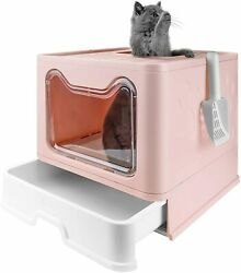 Cat Potty Foldable Anti splashing Top Entry Covered Litter Box with Scoop Pink $47.96