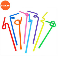 Straws used to serve drinks Straws are recycled from utensils Colorful straws
