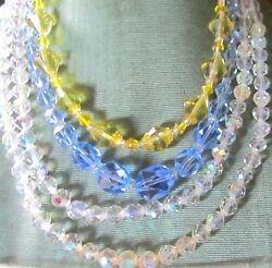 BEAUTIFUL VINTAGE CRYSTAL NECKLACE LOT OF 3 BLUE CANARY YELLOW amp; A B SPARKLERS $20.99