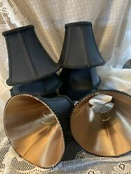 Lot 8 Chandelier Shades Clip on Fitter Lamp Black Braided Gold Satin Lining Noce $75.00