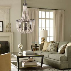 French Country Wood Beaded Chandelier 3 Light Pendant Light Living Room Fixture $125.99