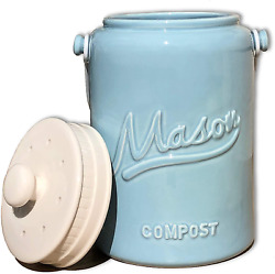 Ceramic Compost Bin for Kitchen Counter Indoor Compost Bucket With Handle and $65.99