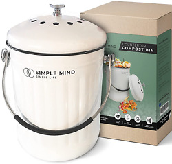 Countertop Compost Bin with lid 1.3 Gallon Vintage White Compost Bucket Compost $51.99