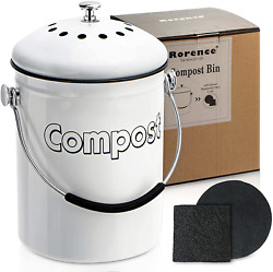 Rorence Stainless Steel Compost Bin: White Indoor Compost Bucket for Kitchen Cou $45.99
