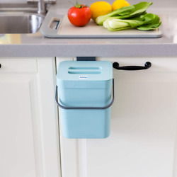Small Compost Bin with Lid Blue Plastic Waste Basket 5 L 1.3 Gallons Mountable $26.99